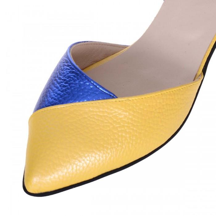 Balerini Stiletto Piele Naturala Galben, Albastru si Imprimeu Colorat - Cod L63