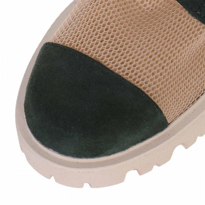 Bocanci de Dama cu Plasa Bej si Piele Intoarsa Verde - Cod B314