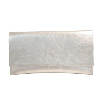 Plic din piele naturala argintie