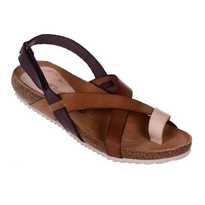 Sandale Romane din piele naturala maro - Romelia