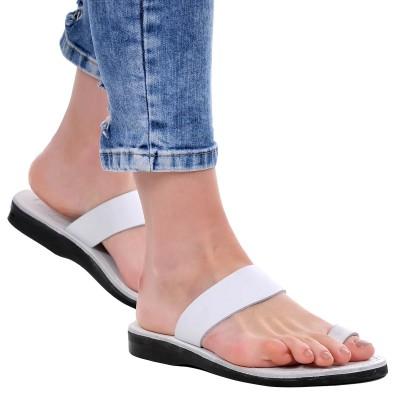 Sandale Romane din piele naturala Alba - Iris