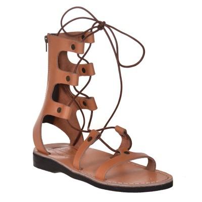Sandale Inalte Romane Piele Naturala Camel - Isra