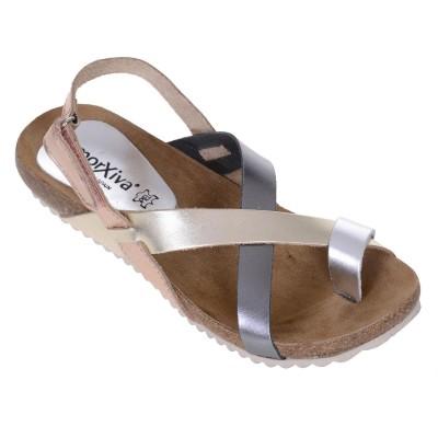 Sandale Romane din piele naturala nuante metalizate - Romelia