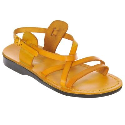 Sandale Romane din piele naturala Galbena - Carola