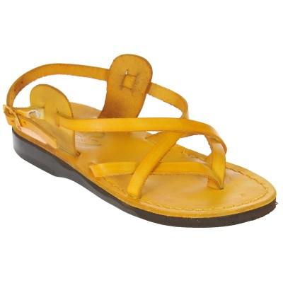 Sandale Romane din piele naturala Galbena - Emma