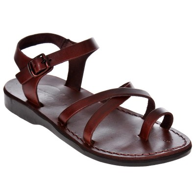 Sandale Romane din piele naturala Maro - Agata