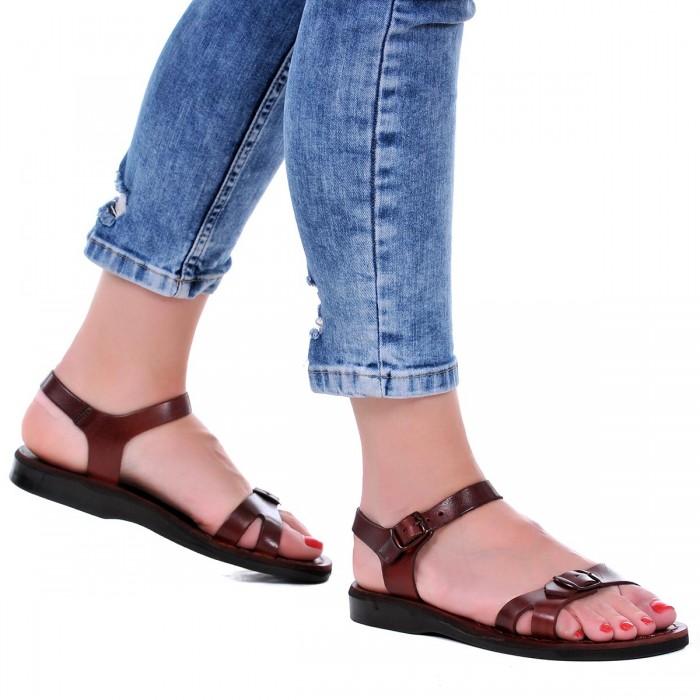 Sandale Romane din piele naturala Maro - Elvira