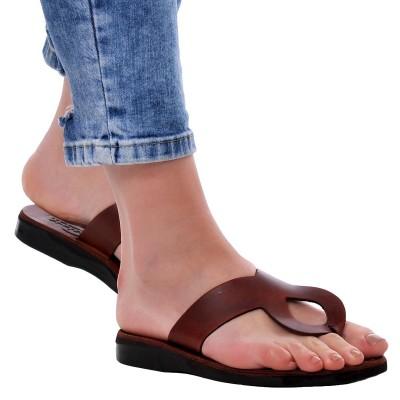 Sandale Romane din piele naturala Maro - Imala