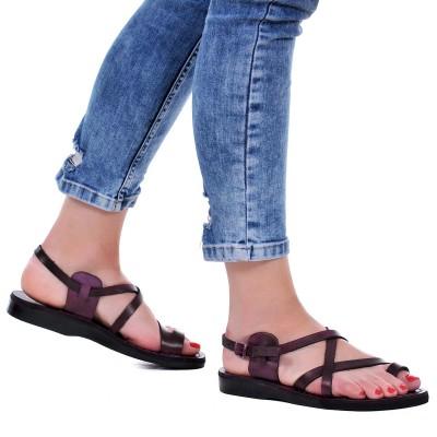 Sandale Romane Unisex din piele naturala Mov - Althea