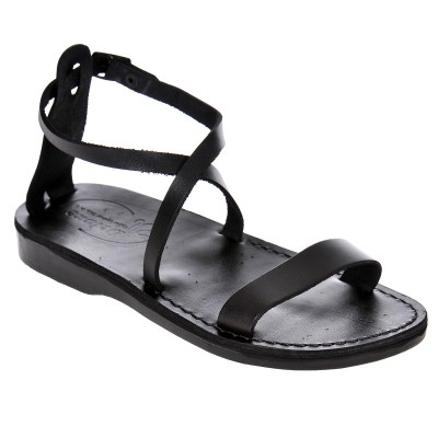 Sandale Romane din piele naturala Neagra - Hana