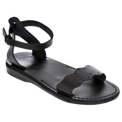 Sandale Romane din piele naturala Negra - Abeona