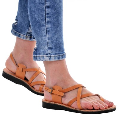 Sandale Romane din piele naturala Camel - Beatris