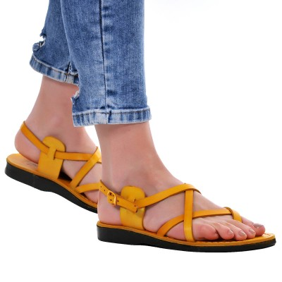Sandale Romane din piele naturala Galbena - Ayda
