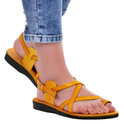 Sandale Romane din piele naturala Galbena - Rania