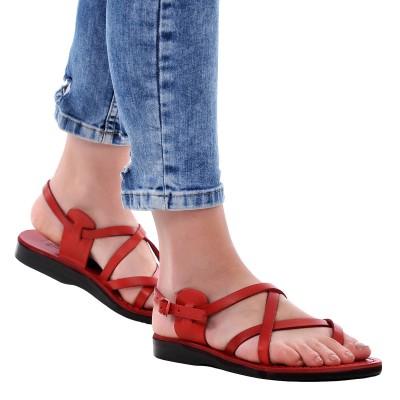 Sandale Romane din piele naturala Rosie - Viva