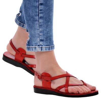 Sandale Romane din piele naturala Rosie - Olah