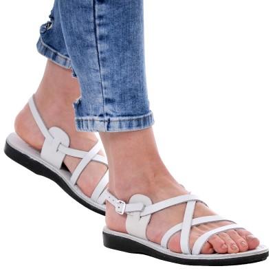 Sandale Romane din piele naturala Alba - Dalila