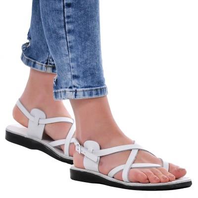 Sandale Romane din piele naturala Alba - Tess