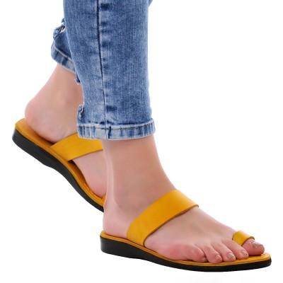 Sandale Romane din piele naturala Galbena - Flavia