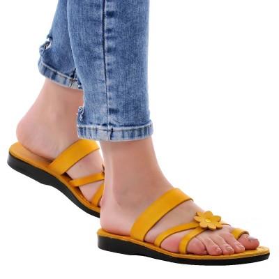 Sandale Romane din piele naturala Galbena - Karmen