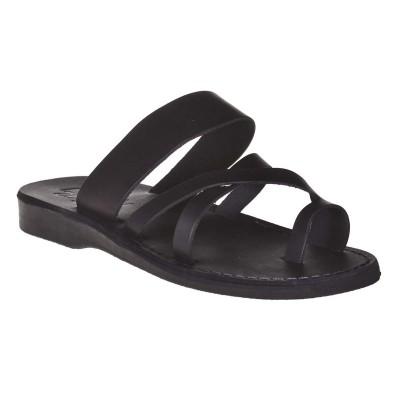 Sandale Romane Unisex din piele naturala Neagra - Kuky