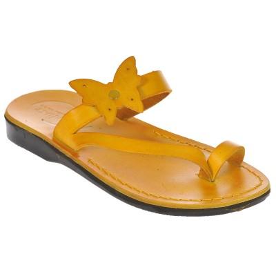 Sandale Romane din piele naturala Galbena - Adeona