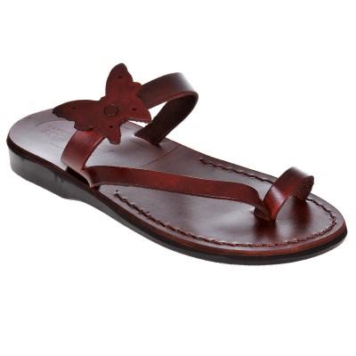 Sandale Romane din piele naturala Maro - Ella