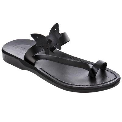 Sandale Romane din piele naturala Neagra - Edmeia