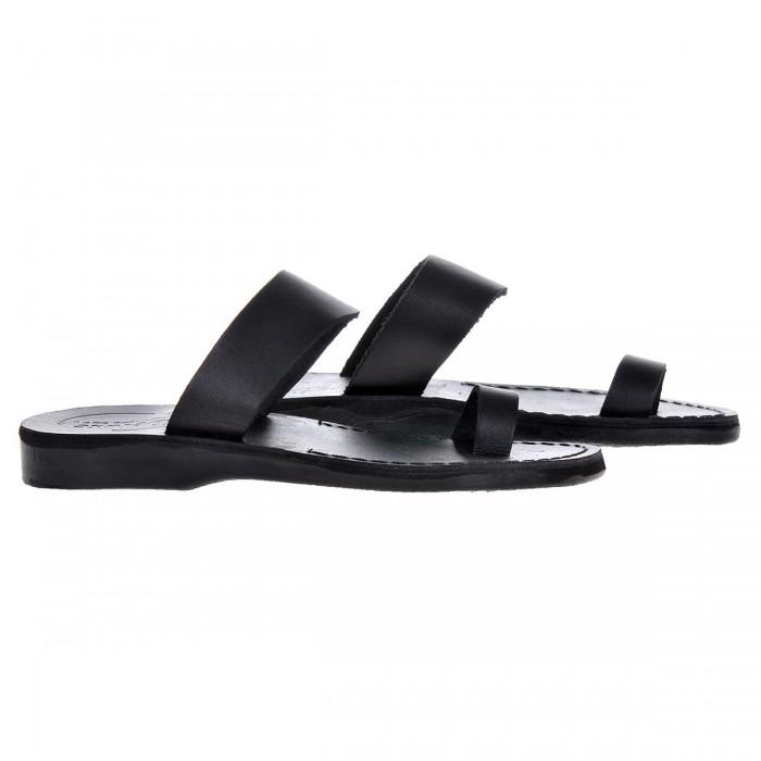 Sandale Romane din piele naturala Neagra - Ahile