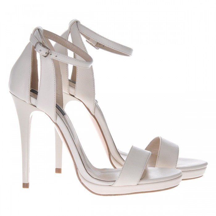 Sandale Dama Piele Naturala Alb - Bej - Cod N83