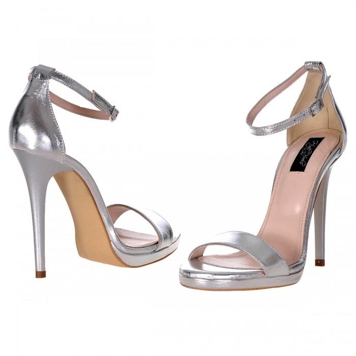 Sandale Dama Piele Naturala Argintie - Cod N72