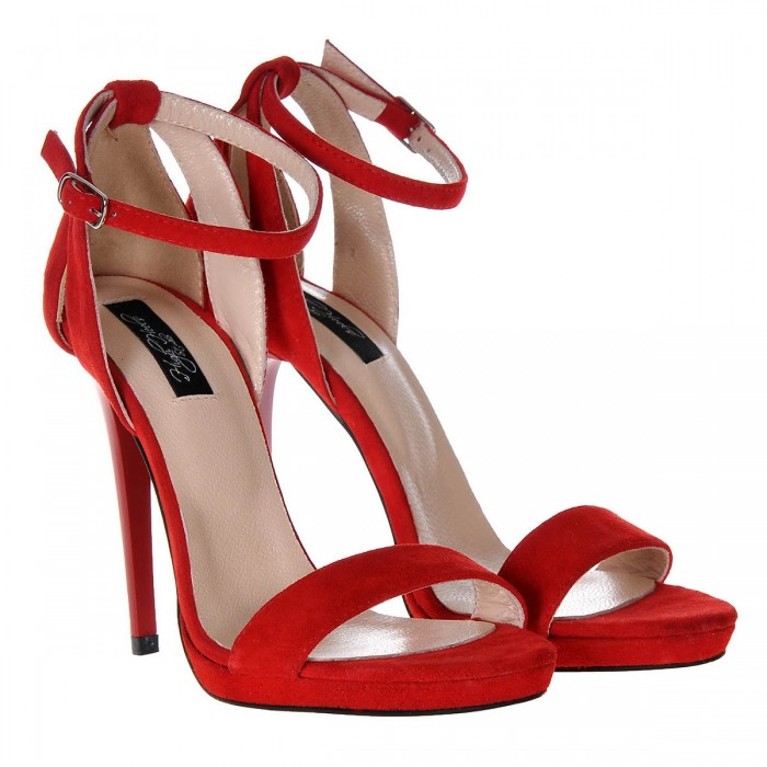 Sandale Dama Piele Naturala Intoarsa Rosie - Cod N79