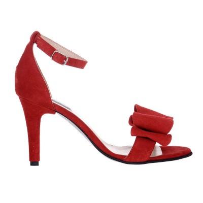 Sandale Dama Piele Naturala Intoarsa Rosie - Cod N144