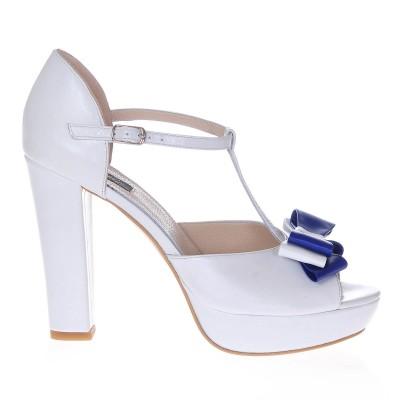Sandale Dama Piele Naturala Alb Sidef - Cod N41