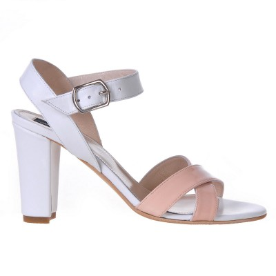 Sandale Dama Piele Naturala Nude Roze - Alb - Cod N47