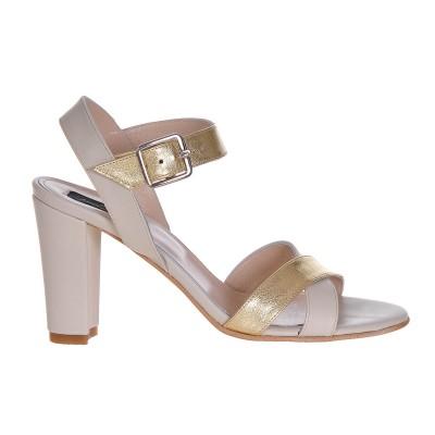 Sandale Dama Piele Naturala Gri - Auriu - Cod N55