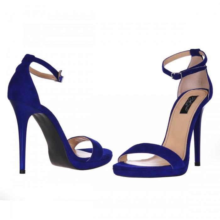 Sandale Dama Piele Naturala Albastru Regal - Cod N38