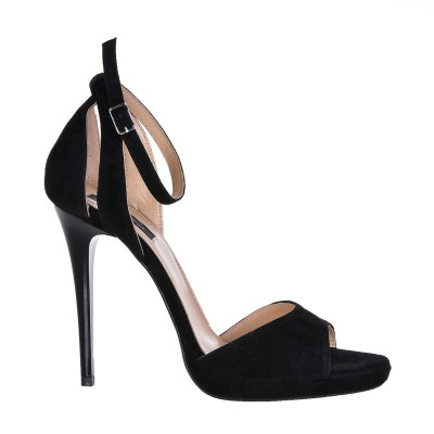 Sandale Dama Piele Naturala Intoarsa Neagra - Cod N33