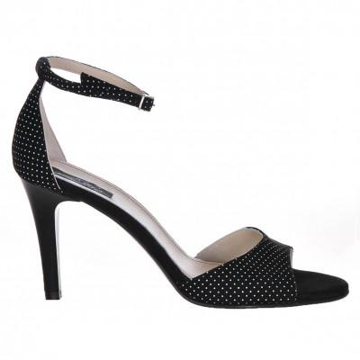 Sandale Dama Piele Naturala Intoarsa Neagra Cu Buline - Cod N36