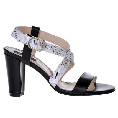Sandale Dama Piele Naturala Imprimeu Ziar - Cod N49