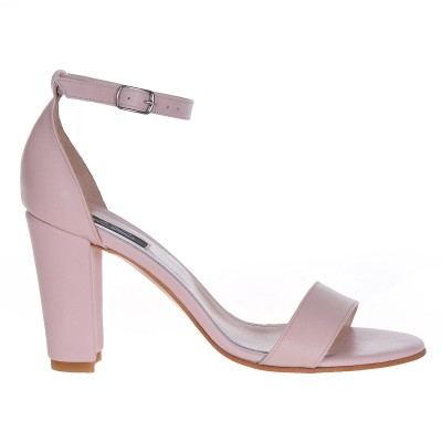 Sandale cu toc gros Piele Naturala Nude - Cod N42