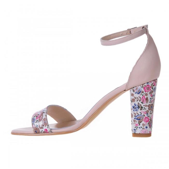 Sandale cu toc gros Piele Naturala Nude Imprimeu Floral- Cod N46