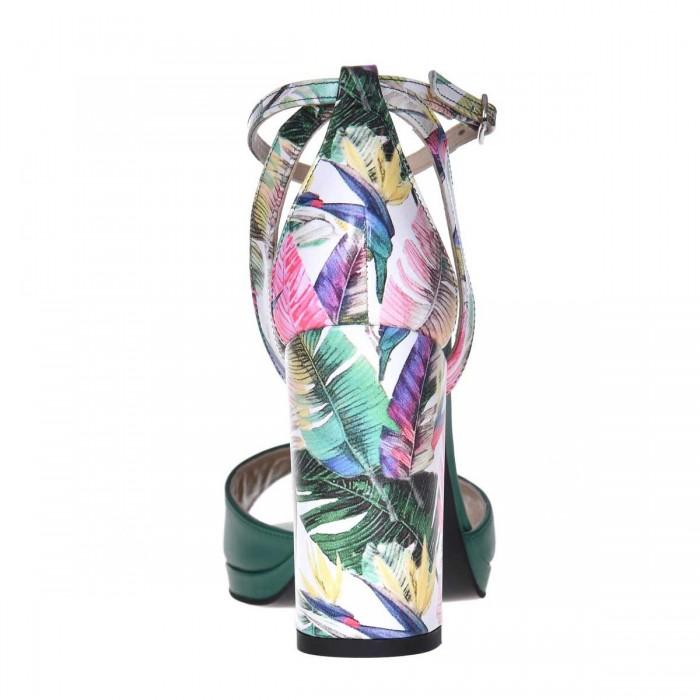 Sandale Dama Piele Naturala Verde si Imprimeu - Cod N154