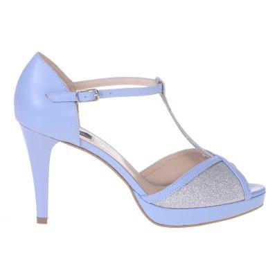 Sandale de Dama din Piele Naturala Bleu si Glitter Argintiu Cod - N132