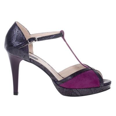 Sandale de Dama din Piele Naturala Mov cu Imprimeu Cod - N136