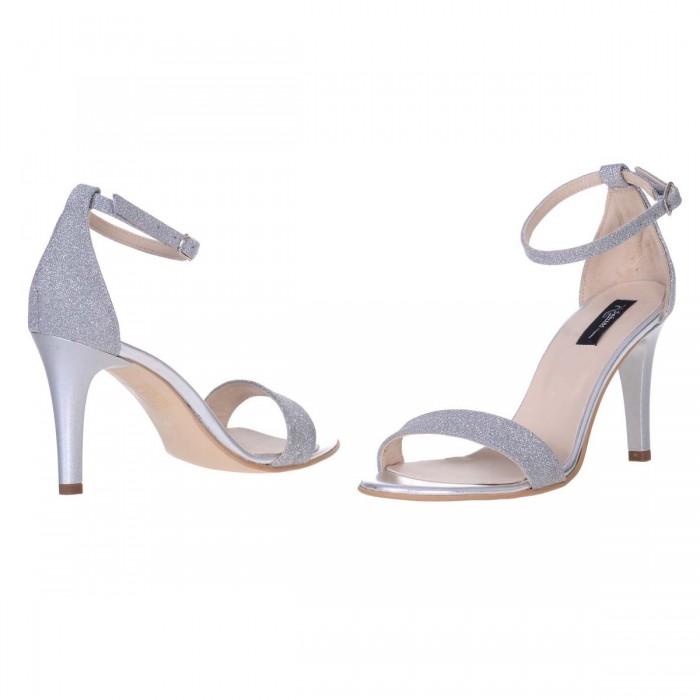 Sandale Dama Piele Naturala Argintie si Glitter - Cod N139