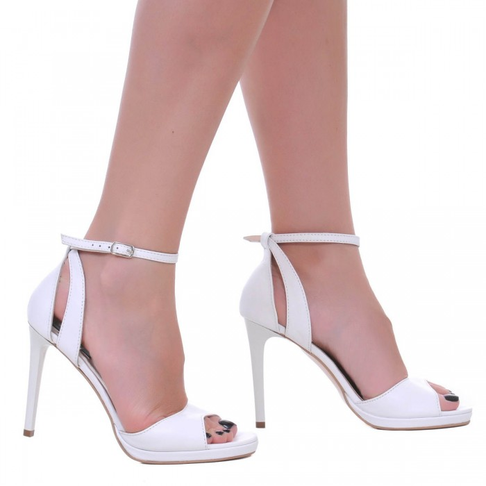 Sandale Dama Piele Naturala Alba - Cod N97