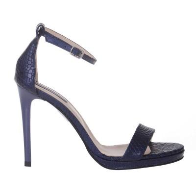 Sandale Dama Piele Albastra cu Imprimeu Sarpe - Cod N131