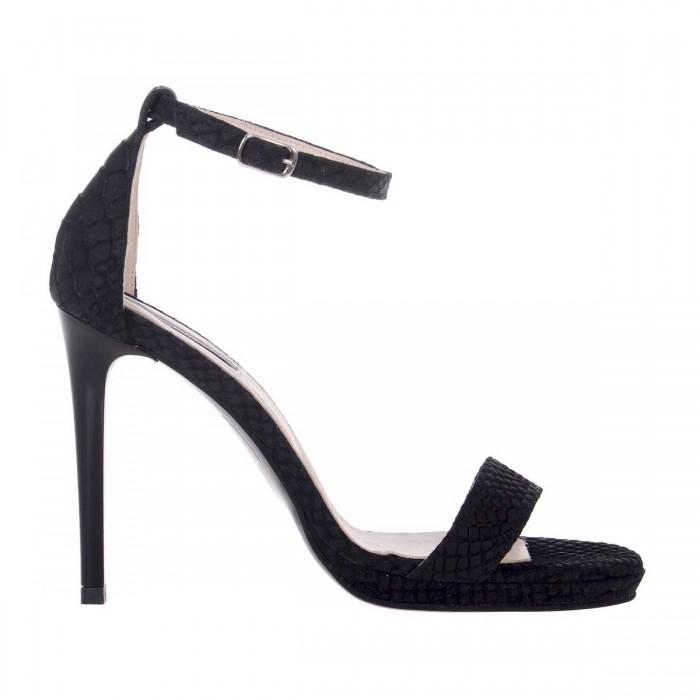 Sandale Dama Piele Naturala Neagra si Imprimeu - Cod N129