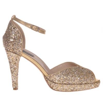 Sandale Glitter Auriu si Piele Naturala - Cod N112